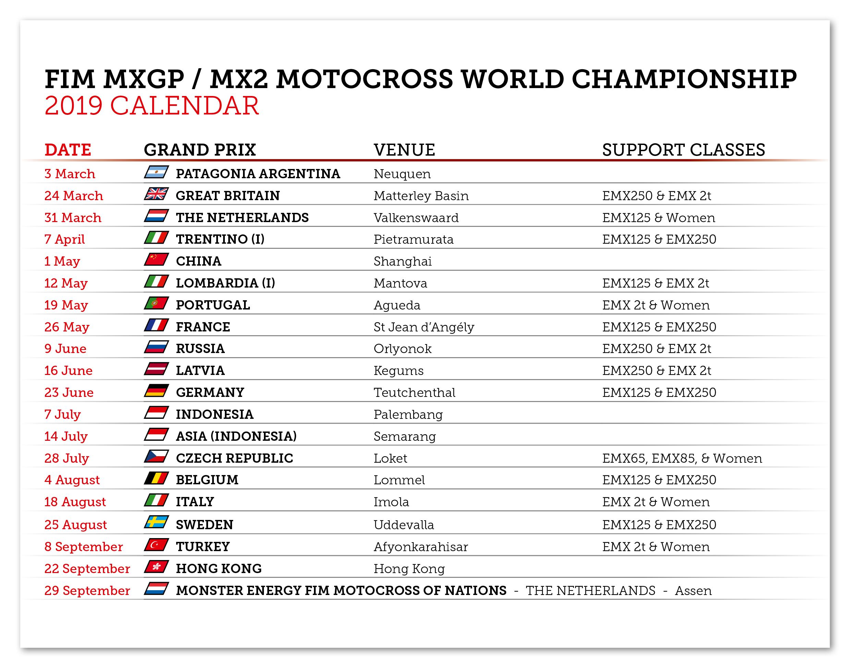 Calendario Mondiale Motocross.Aggiornato Il Calendario 2019 Del Fim Motocross World