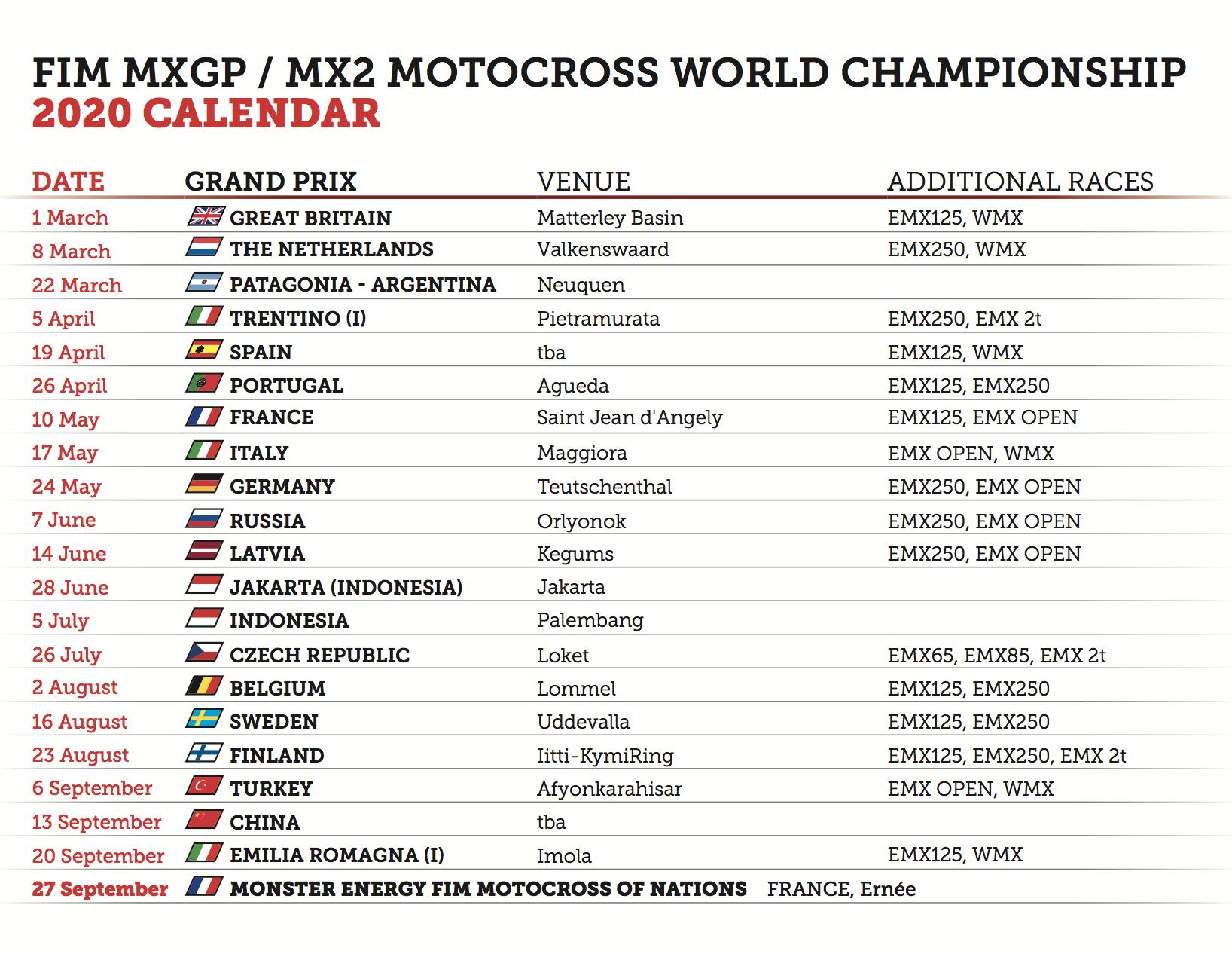 Can Calendrier 2020.2020 Fim Motocross World Championship Official Calendar Mxgp