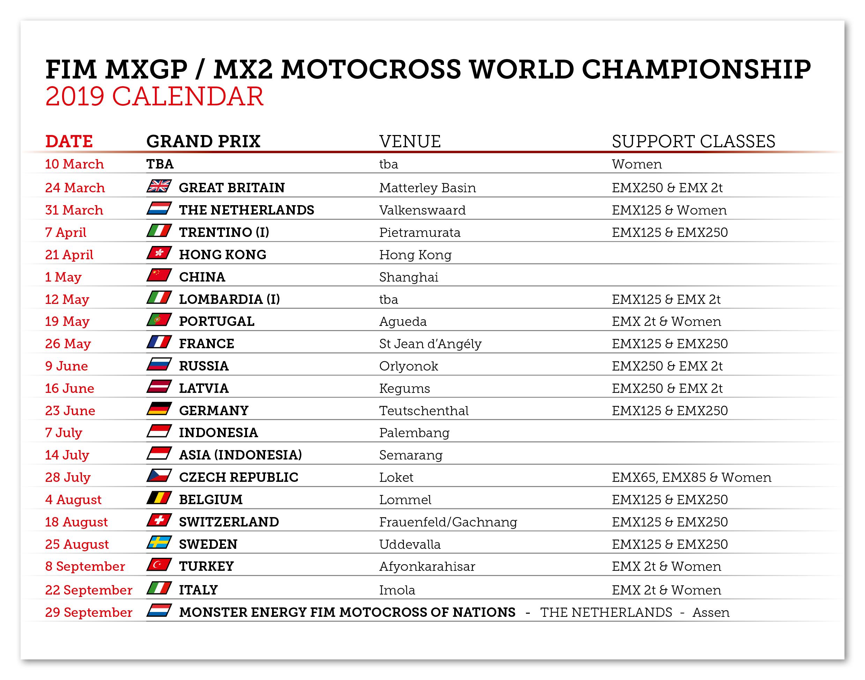 2019 Mxgp Fim Motocross World Championship Calendar Mxgp